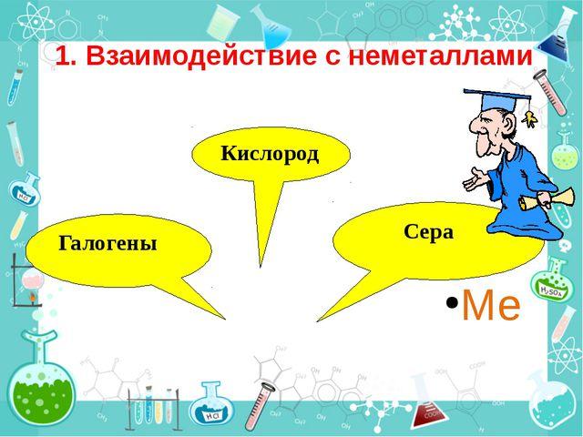 1. Взаимодействие с неметаллами Ме Кислород Сера Галогены