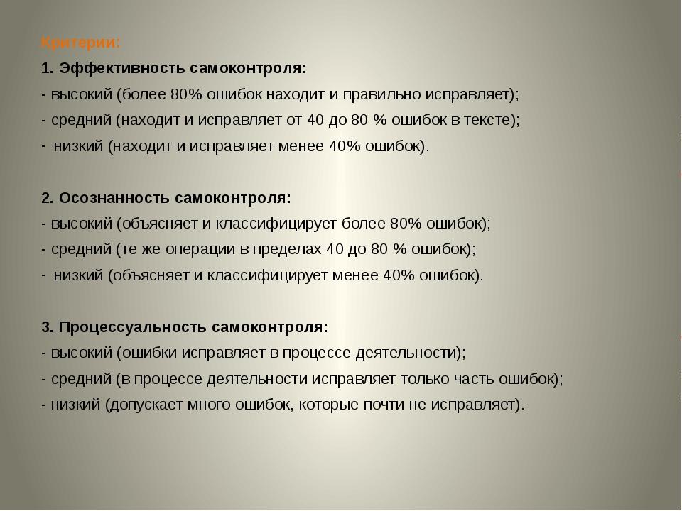 Критерии: 1. Эффективность самоконтроля: - высокий (более 80% ошибок находит...