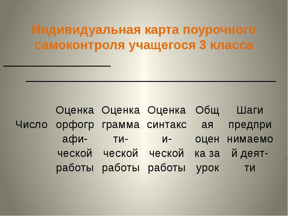 Индивидуальная карта поурочного самоконтроля учащегося 3 класса ____________...