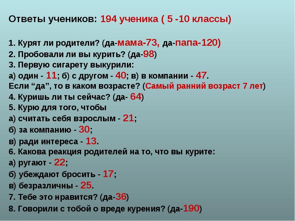 Ответы учеников: 194 ученика ( 5 -10 классы) 1. Курят ли родители? (да-мама-7...