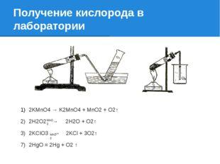 Получение кислорода в лаборатории 2KMnO4 → K2MnO4 + MnO2 + O2↑ 2Н2О2 → 2Н2О +
