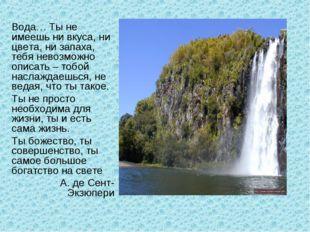 Вода… Ты не имеешь ни вкуса, ни цвета, ни запаха, тебя невозможно описать – т