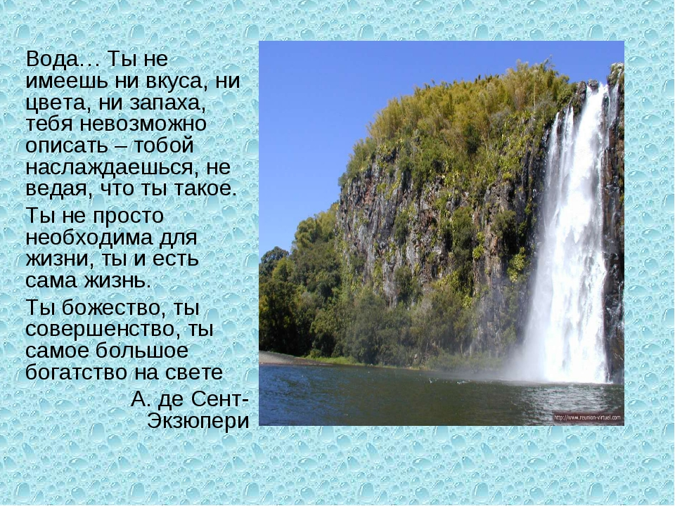 Вода… Ты не имеешь ни вкуса, ни цвета, ни запаха, тебя невозможно описать – т...