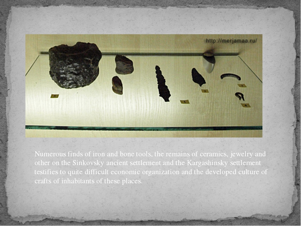 Numerous finds of iron and bone tools, the remains of ceramics, jewelry and o...