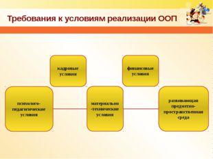 Требования к условиям реализации ООП психолого-педагогические условия кадровы