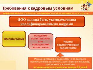 Требования к кадровым условиям ДОО должна быть укомплектована квалифицированн