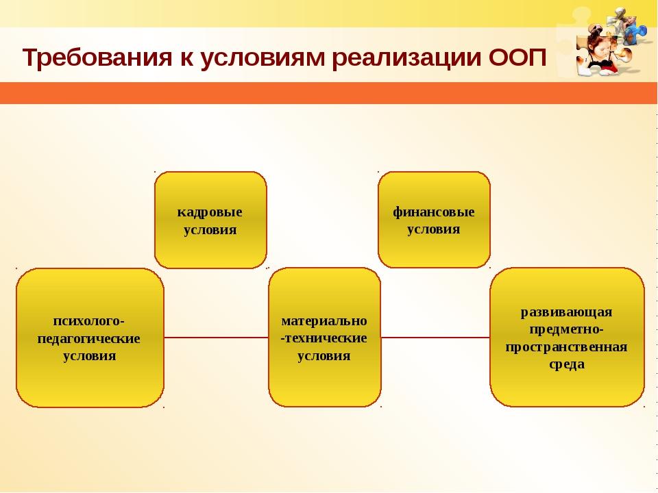 Требования к условиям реализации ООП психолого-педагогические условия кадровы...