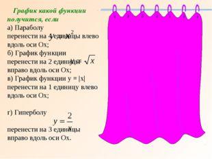 График какой функции получится, если а) Параболу перенести на 4 единицы влев