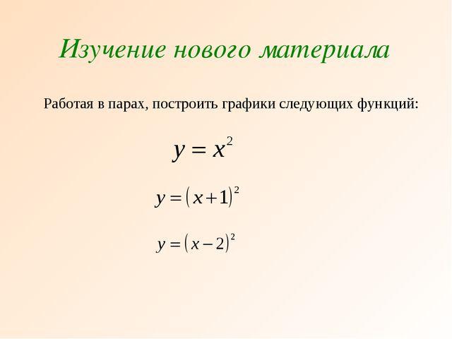 Изучение нового материала Работая в парах, построить графики следующих функций: