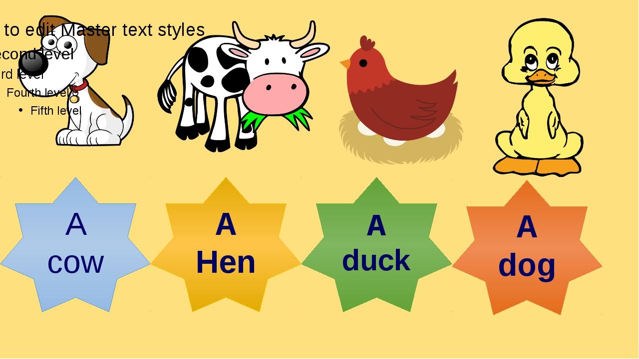 By Nooshin ShahMansoori A cow A Hen A duck A dog