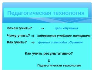Зачем учить?  цели обучения Чему учить?  содержание учебного материала К