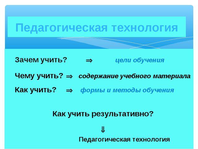 Зачем учить?  цели обучения Чему учить?  содержание учебного материала К...