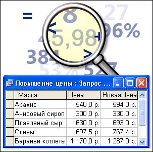 Числа и операторы, преобразованные в результаты запроса