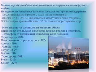 * Влияние народно-хозяйственных комплексов на загрязнение атмосферного воздух