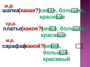 шапка платье сарафан ж.р. ср.р. м.р. (какой?) (какое?) (какая?) синяя, больша