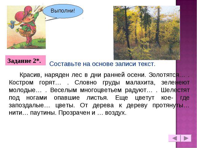 Красив, наряден лес в дни ранней осени. Золотятся… . Костром горят… . Словно...