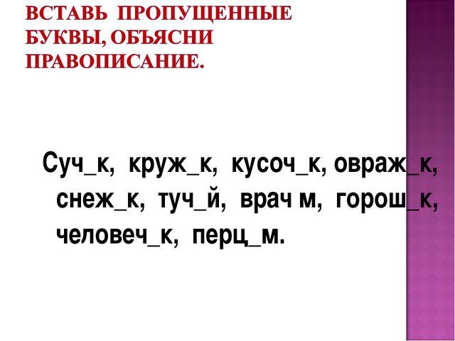 Суч_к, круж_к, кусоч_к, овраж_к, снеж_к, туч_й, врач м, горош_к, человеч_к,...