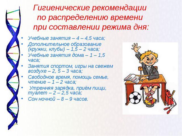 Гигиенические рекомендации по распределению времени при составлении режима д...