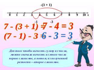 -(3 + 1) -1 -3 Для того чтобы вычесть сумму из числа, можно сначала вычесть и