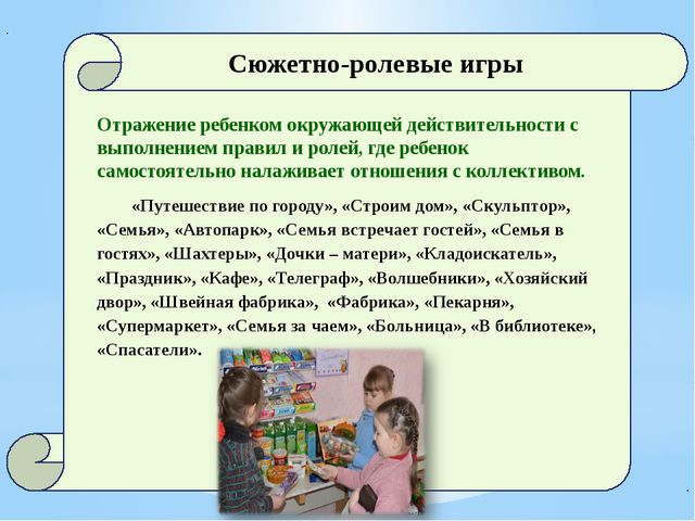 Сюжетно-ролевые игры Отражение ребенком окружающей действительности с выполн...