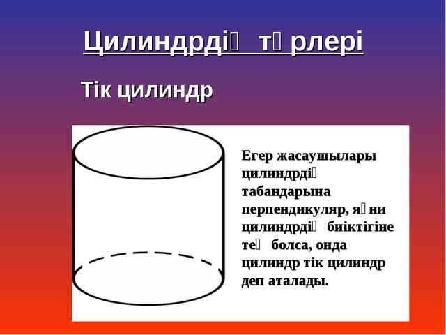 Тік цилиндр Егер жасаушылары цилиндрдің табандарына перпендикуляр, яғни цилин...