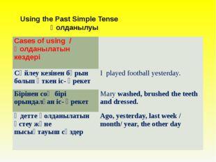 Using the Past Simple Tense Қолданылуы  Cases of using /Қолданылатын кездер