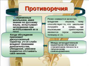 Противоречия Современные школьники, имея знания по русскому языку, испытывают