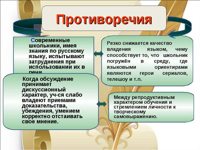 Противоречия Современные школьники, имея знания по русскому языку, испытывают...