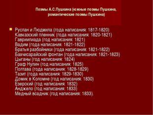 Поэмы А.С.Пушкина (южные поэмы Пушкина, романтические поэмы Пушкина) Руслан и