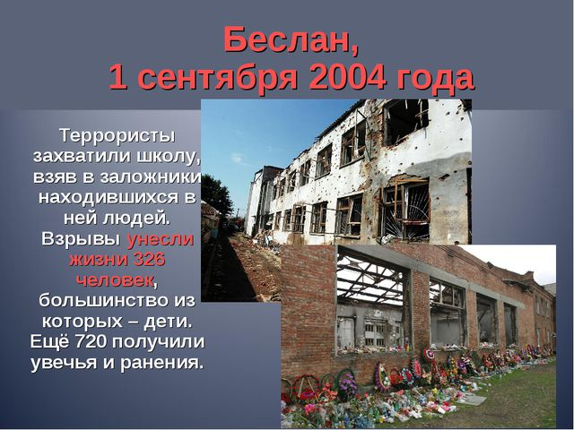 Беслан, 1 сентября 2004 года Террористы захватили школу, взяв в заложники нах...