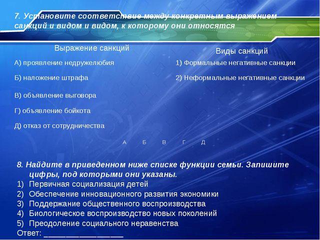 7. Установите соответствие между конкретным выражением санкций и видом и видо...