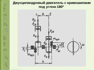 Двухцилиндровый двигатель с кривошипами под углом 180°
