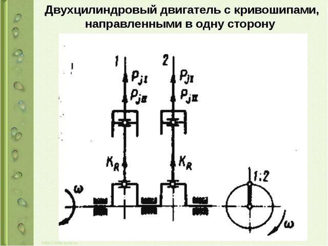 Двухцилиндровый двигатель с кривошипами, направленными в одну сторону