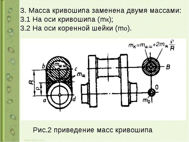 3. Масса кривошипа заменена двумя массами: 3.1 На оси кривошипа (mк); 3.2 На...