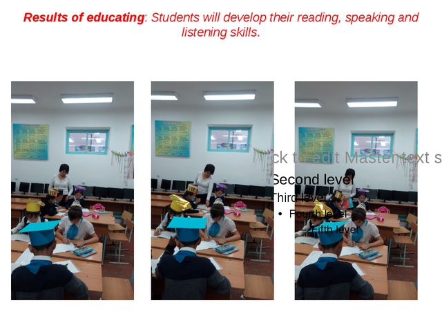 Results of educating: Students will develop their reading, speaking and liste...