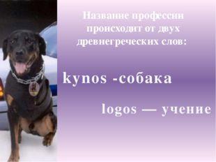 logos — учение Название профессии происходит от двух древнегреческих слов: ky