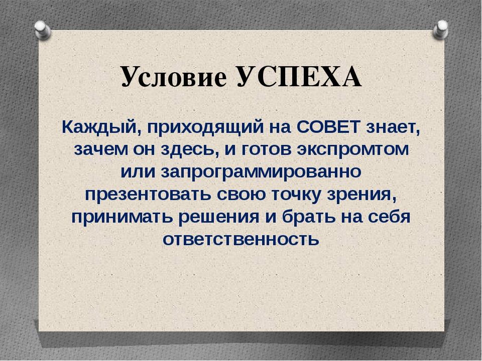 Условие УСПЕХА Каждый, приходящий на СОВЕТ знает, зачем он здесь, и готов экс...