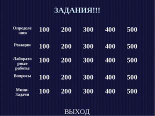 ЗАДАНИЯ!!! ВЫХОД Определе-ния100200300400500 Реакции100200300400500