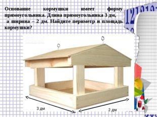 Основание кормушки имеет форму прямоугольника. Длина прямоугольника 3 дм, а ш