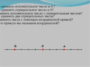 Как сравнить положительное число и 0 ? Как сравнить отрицательное число и 0?