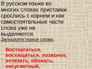 В русском языке во многих словах приставки срослись с корнем и как самостояте