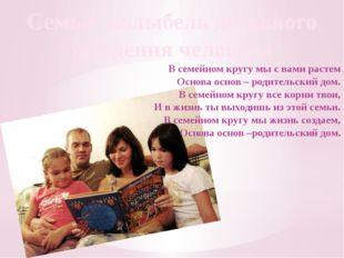 Семья- колыбель духовного рождения человека В семейном кругу мы с вами растем