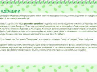 """О дендрарии Сочинский """"Дендрарий"""" (Худековский парк) основан в 1892 г. извест"""