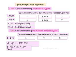 Проверяем решение задачи №2. 1 шаг. Составили таблицу по условию задачи. Выпо