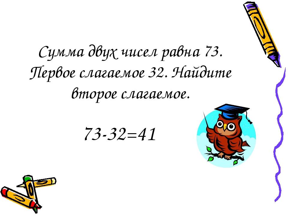 Сумма двух чисел равна 73. Первое слагаемое 32. Найдите второе слагаемое. 73-...