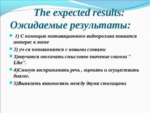 The expected results: Ожидаемые результаты: 1) С помощью мотивационного виде...