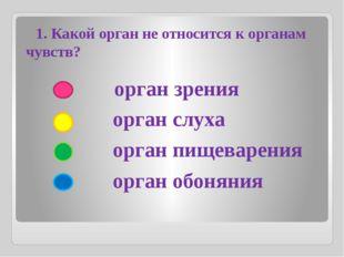 орган зрения орган слуха орган пищеварения орган обоняния 1. Какой орган не