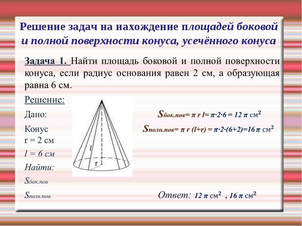Решение задач на нахождение площадей боковой и полной поверхности конуса, усе...
