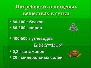 Потребность в пищевых веществах в сутки 80-100 г белков 80-100 г жиров 400-50