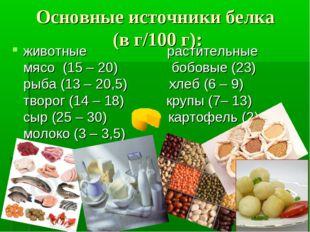 Основные источники белка (в г/100 г): животные раститель